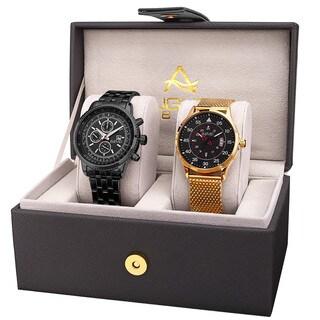 August Steiner Men's Multifunction Dual Time Tachymeter Stainless Steel Black Bracelet Watch Set