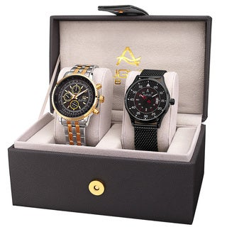 August Steiner Men's Multifunction Dual Time Tachymeter Stainless Steel Two-Tone Bracelet Watch Set