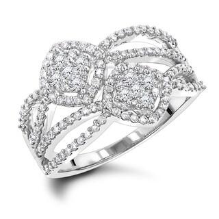 Luxurman Love & Friendship Rings :Diamond Right Hand Ring for Women 14k Gold