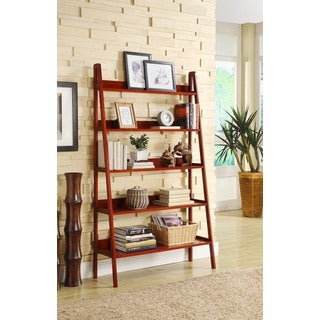 Contemporary Cherry Leaning Ladder 5 Tier Bookcase