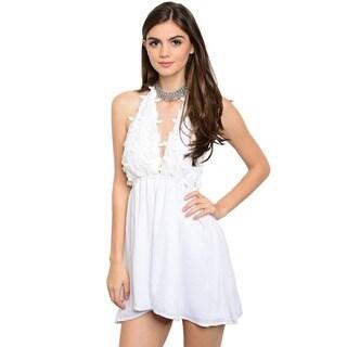 Shop The Trends Women's Sleeveless Empire Waist Dress with Halter Neckline and Crochet Design