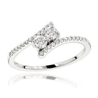 Luxurman 14K Gold 2 Stone Diamond Ladies Ring 0.4ct Love and Friendship Design (H-I; SI1-SI2)