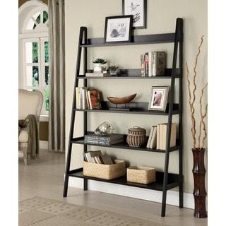 Walnut Five Tier 2 Piece Leaning Ladder Shelf Set Free