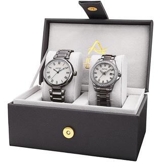 August Steiner His & Her's Elegant Crystal Gun Bracelet Watch Set