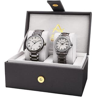 August Steiner His & Her's Elegant Crystal Gun Bracelet Watch Set with FREE GIFT|https://ak1.ostkcdn.com/images/products/14293680/P20877066.jpg?impolicy=medium