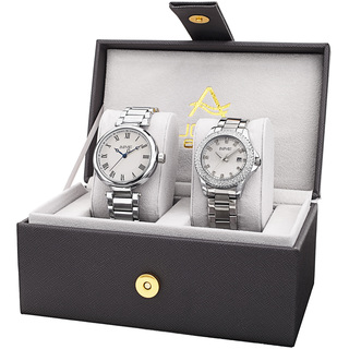 August Steiner His & Her's Elegant Crystal Silver-Tone Bracelet Watch Set
