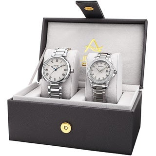 August Steiner His & Her's Elegant Crystal Silver-Tone Bracelet Watch Set with FREE GIFT