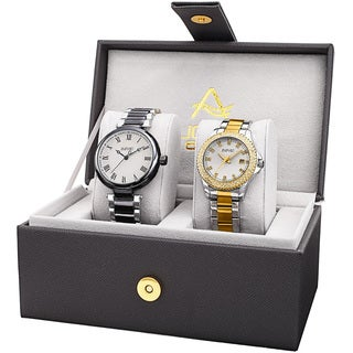 August Steiner His & Her's Elegant Crystal Two-Tone Bracelet Watch Set