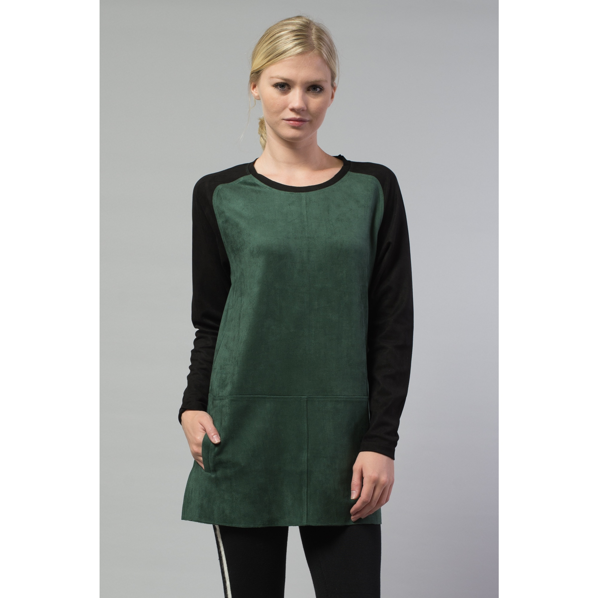 Morning Apple Women's Green Suede Color-block Top (Hunter...