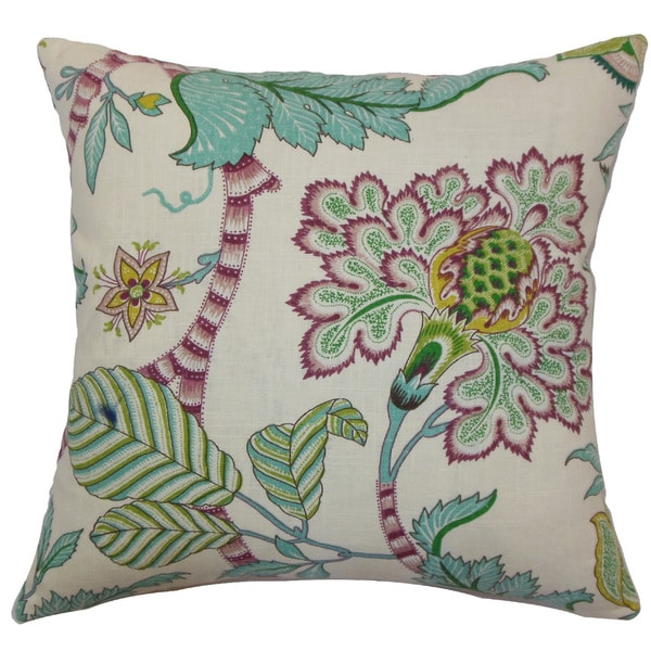 "Elodie Floral 22"" x 22"" Down Feather Throw Pillow Teal"
