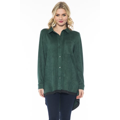 Morning Apple Women's Khaki Suede Long-sleeved Trim Top