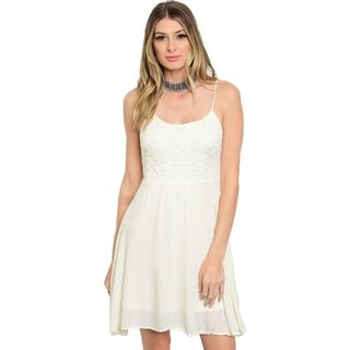 Shop The Trends Women's Spaghetti Strap A-line Dress with Lace Bodice and Full Lining