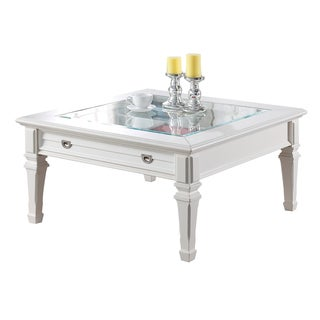 Acme Furniture Adalyn White Wood and Glass Coffee/End Table