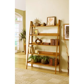 Contemporary Oak Leaning Ladder 5 Tier Bookcase