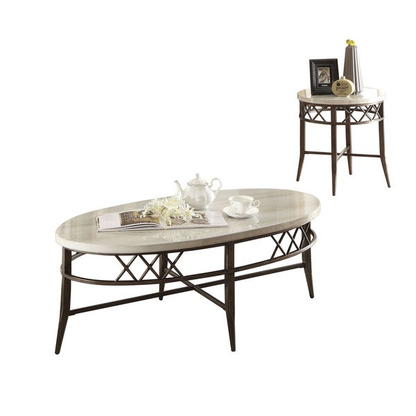 Shop Acme Furniture Aldric Faux Marble Coffee/End Tables (Set Of 3)   Free  Shipping Today   Overstock   14293883