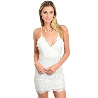 Shop The Trends Women's Spaghetti Strap Bodycon Lace Dress with Low-cut Sweetheart Neckline