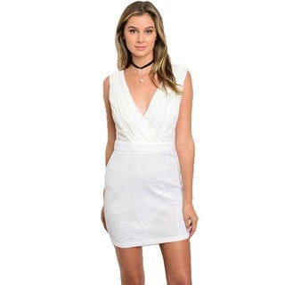 Shop The Trends Women's Off-white Polyester Sleeveless Bodycon Mini Dress with Plunging Neckline