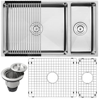 "31-1/4"" Ticor S6512-KIT 16-gauge Stainless Steel Double Bowl Undermount Square Kitchen Sink with Tight Radius Corners"