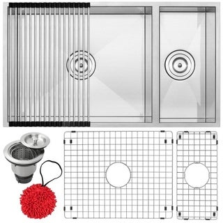 """31 1/4"""" Ticor S6502 Pacific Series 16-Gauge Stainless Steel Undermount 70/30 Ratio Double Basin Kitchen Sink with Accessories"""