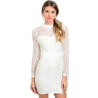 Shop the Trends Women's White Nylon and Spandex Long-sleeve Lace Mini Dress with Mock Neckline