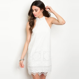 Shop the Trends Women's White Short-sleeved Tunic Dress with Mock Neckline and Crochet Details on Hem