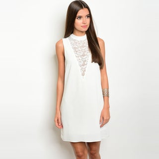 Shop The Trends Women's Sleeveless Shift Dress With Mock Neckline and Lace Chest Design