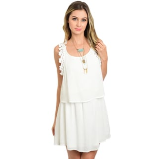 Shop the Trends Women's White Rayon Sleeveless Woven Flowy Dress with Crochet Lace Trim