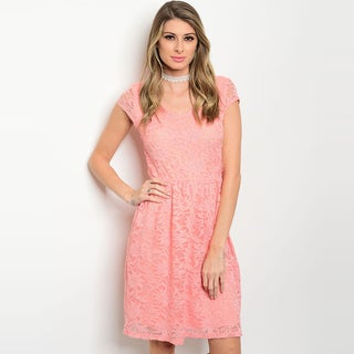 Shop The Trends Women's Cap-Sleeve Lace Dress With Scoop Neckline and Smock Waistline
