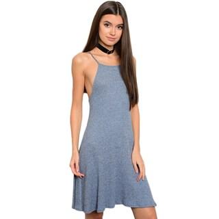 Shop The Trends Women's Ivory Spaghetti-strap Round-neckline Slub-knit Tunic Dress