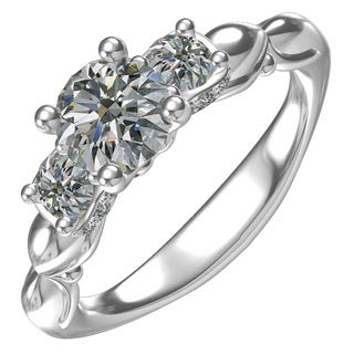 Classic 3-Stone Sterling Silver 1-carat Cubic Zirconia Round Center with 0.44 Cubic Zirconia Sides Engagement Ring