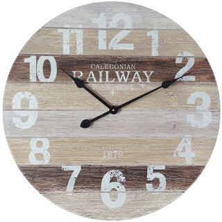Infinity Instruments Antique Railway Aluminum, Metal, and Wood 23.75-inch Round Wall Clock