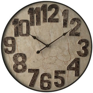 Infinity Instruments Marbled Mocha Metal/Wood Round Wall Clock