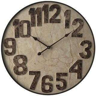 Infinity Instruments Marbled Mocha Metal/Wood Round Wall Clock