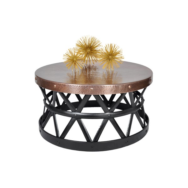Contemporary Round Hammered Copper Coffee Table Free Shipping Today 20877867