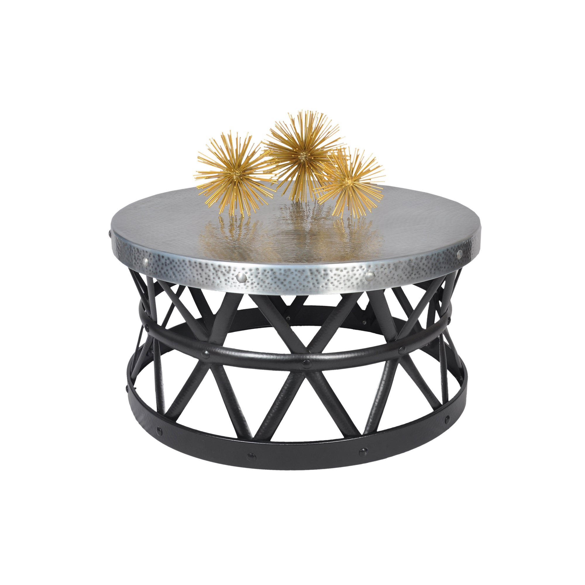 - Shop Contemporary Round Hammered Copper Coffee Table - Overstock