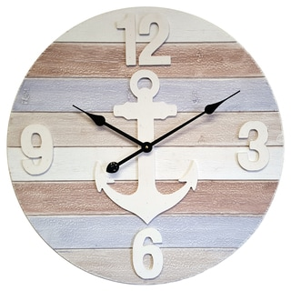 Infinity Instruments Anchors Away 23.75-inch Round Wall Clock