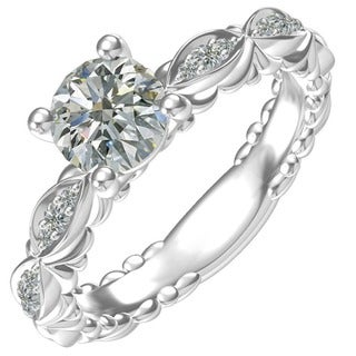 Sterling Silver 1-carat Center and 12, 0.10-carat Side Cubic Zirconia Engagement Ring