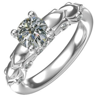 Sterling Silver 1-carat Center and 14, 0.15-carat Side Cubic Zirconia Engagement Ring