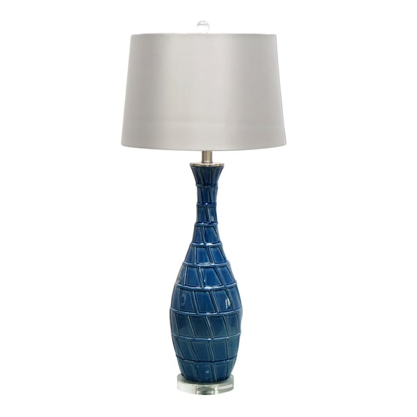 33-inch Blue Ceramic Table Lamp