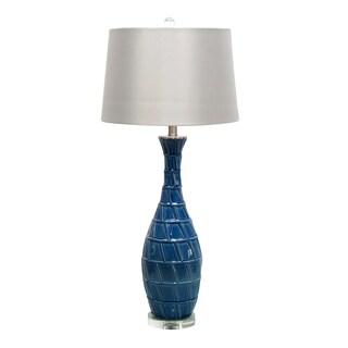 33-inch Blue Ceramic Table Lamp