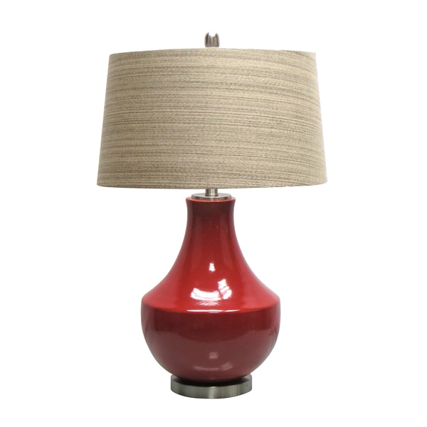 28.5-inch Red Ceramic Table Lamp