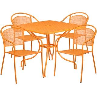 Kalev 5-Piece Artistic Designed Orange Large Bistro Set