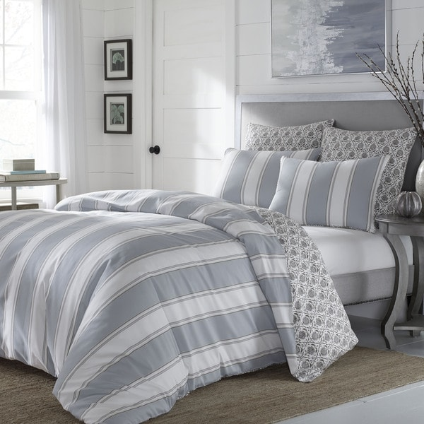 Stone Cottage Calista Grey Stripe Cotton Sateen Comforter Set