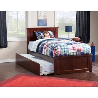 Madison Twin Platform Bed with Matching Foot Board with Twin Size Urban Trundle Bed in Walnut