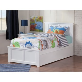 Madison Twin Platform Bed with Matching Foot Board with Twin Size Urban Trundle Bed in White