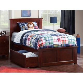 Madison Twin XL Platform Bed with Matching Foot Board with 2 Urban Bed Drawers in Walnut