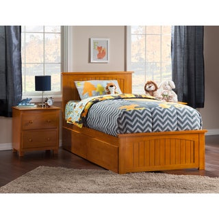 Nantucket Twin XL Platform Bed with Matching Foot Board with 2 Urban Bed Drawers in Caramel