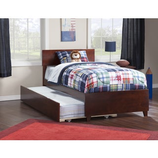 Atlantic Orlando Walnut Twin Bed with Matching Footboard and Urban Trundle Bed