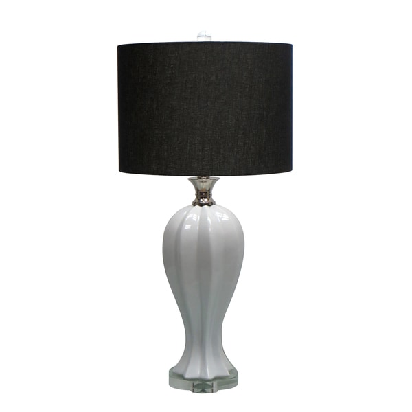 28.5-inch Ceramic Table Lamp with Black Shade