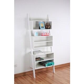 White Finished Wooden Leaning Shelf
